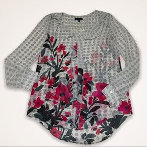 LE CHATEAU Sheer Floral Geo Blouse